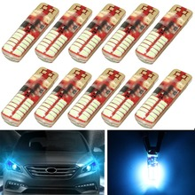 Hot Selling 10Pcs  Ice Blue T10 W5W Silica Gel 194 168 3014 24 SMD LED Side Strobe Flash Flashing Light Bulb