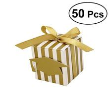 50pcs Stripes Paper Graduation Candy Treat Boxes Gift Boxes with Doctoral Cap Card Tag Party Favors for Graduation(China)