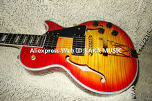 New Arrival Cherry Burst Hollow Jazz Guitar flame top Wholesale Guitars Gold Hardware High Cheap