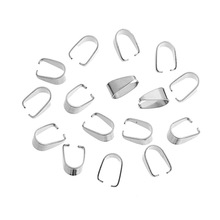 LASPERAL 100PCs Stainless Steel Clasps Pendant Pinch Bail Clasps Silver Color U-shaped Melon Seeds Buckle For DIY 7.7mmx5.4mm
