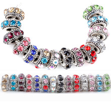 1pc  free shipping many colors mix round with rhinestone big hole beads  fit european pandora style bracelet A115
