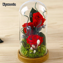 Kyunovia Valentine's Day Glass Cover Fresh Preserved Rose Flower Beautiful Mother birthday gift Wedding Home Decoration KY77(China)