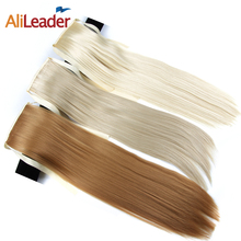 AliLeader Products Dark Brown Ponytail Hair Piece 50CM 80G 10Colors Synthetic Long Straight Pony Tail Hair Extensions Clip In(China)