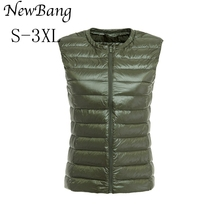 NewBang Waistcoat Women's Warm Vests Ultra Light Down Vest Women Portable Sleeveless Without Collar Winter Warm Liner Outwear(China)