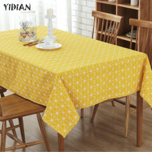 YIDIAN Pastoral Style Canvas Table Cloth Plaid Printed Oilproof Rectangle Table Cover Home Party Wedding Tablecloth