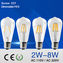 IMINOVO Retro Edison Style Vintage Filament Light Bulb Old Fashioned Antique Style Dimmable ST64 E27 2W 4W 6W 8W 110V 220V(China)
