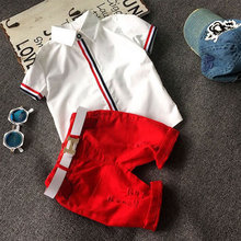 Fashion Baby Kids Boys Clothing Sets White Shirts+Shorts+Gift Belt 3pcs Outfirs Korean Children Boutique Clothes New Brand 2-8T(China)