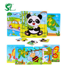 senteng Wooden Animal Puzzle 9-20 piece Toy Baby Educational Birthday Gift kids Puzzles toys for children educational toys(China)
