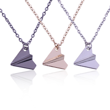 3 Colors New Arrival British Popular Paper Airplane Necklace Snatch One Direction Pendant For Man Necklaces & Pendants XL0042