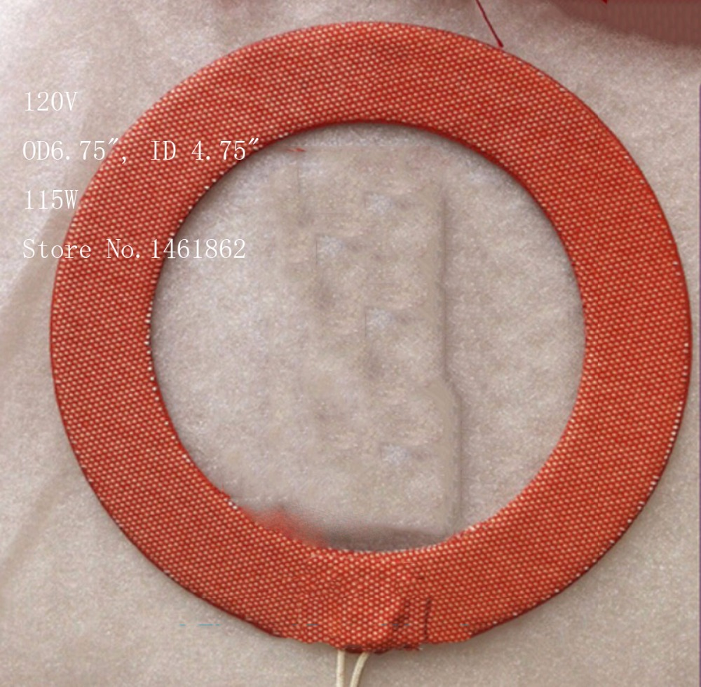 Custom Flexible Silicone Rubber Heater, Heating Element, Ring Heater,OD6.75, ID 4.75, 115W   120V Leads 1M, Industrial Heater<br>