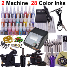 Professional Tattoo Kit 2pcs Machine Guns Shader Liner Power Supply Needles 28 Colors Ink Tip Tattoo Set