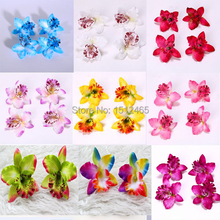 Free shipping,50pcs/lot Lowest price Artificial Silk Flowers Thai Orchid Flower Heads Wedding Party Decoration Diy  8cm HT09-50