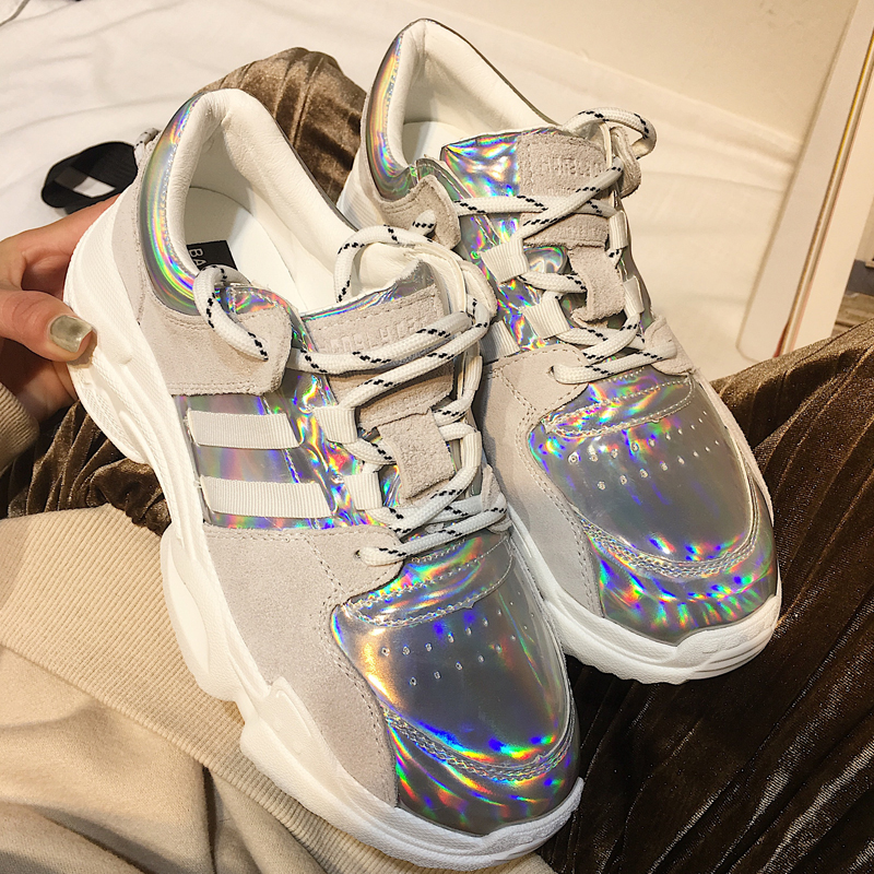 2018 Spring Autumn Shoes Women Platform Shoes Lady Lace Up Casual Shoe Creepers Harajuku Punk Style Girl Gold Silver Shoes Woman (10)
