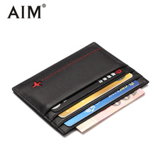 AIM Genuine Leather Men's Small Wallet Card Holder Card Case Credit Card Organizer Male Mini Purse Cards Pack Cash Pocket A415(China)