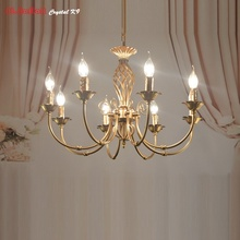 American Bronze Chandelier Modern Antique Chandelier Lingting Luxurious Brass Color Lamp Lustre Suspension Lights Wrought Iron(China)