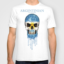 Argentina Skull flag Design style New Fashion Men's Short Sleeve Tshirt Cotton t-shirt(China)