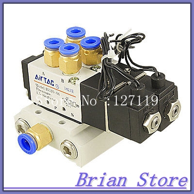 AC 110V 15/64 Quick Fitting 2 Position 2 Solenoid Valve w Base Muffler<br>