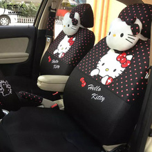 MUNIUREN 18pcs Cute Polka Dots Print Car Seat Covers for Women Car Styling Cartoon Hello Kitty Universal Seat Cover - Black(China)