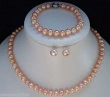 8-9mm AAA Pink Akoya Pearl Necklace Bracelet Earring Sets shipping free