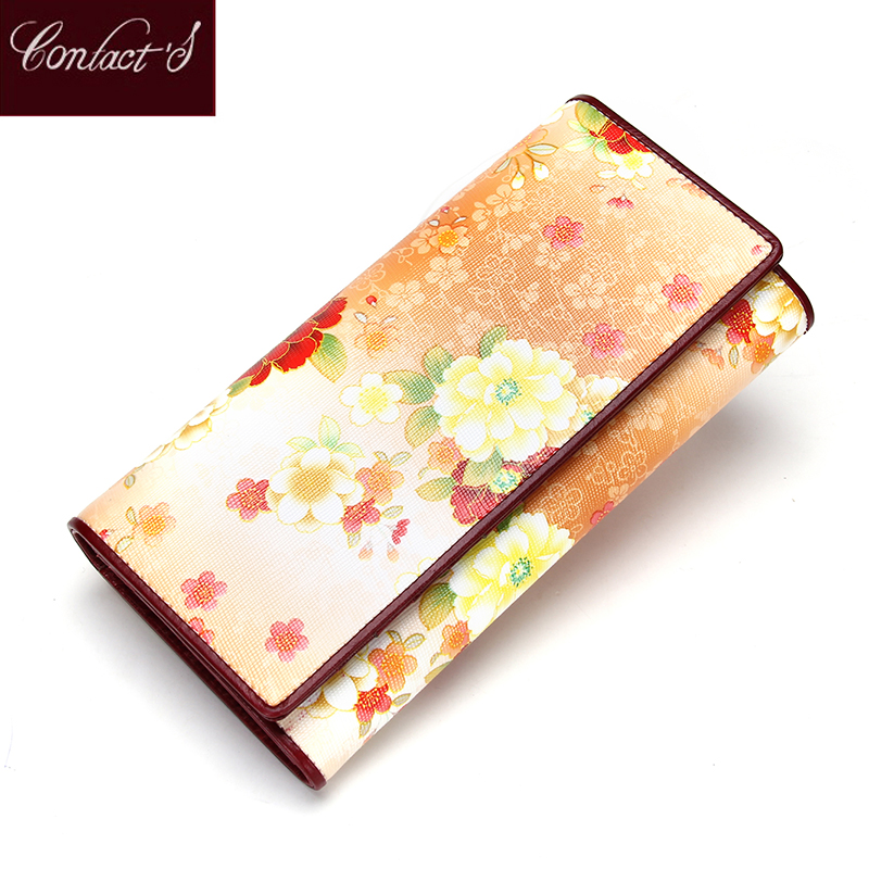 Summer New Genuine Leather Women Wallet Floral Purse Brand Design Clutch Wallet Fashion Coins Holder Carteira Feminina Bags<br>