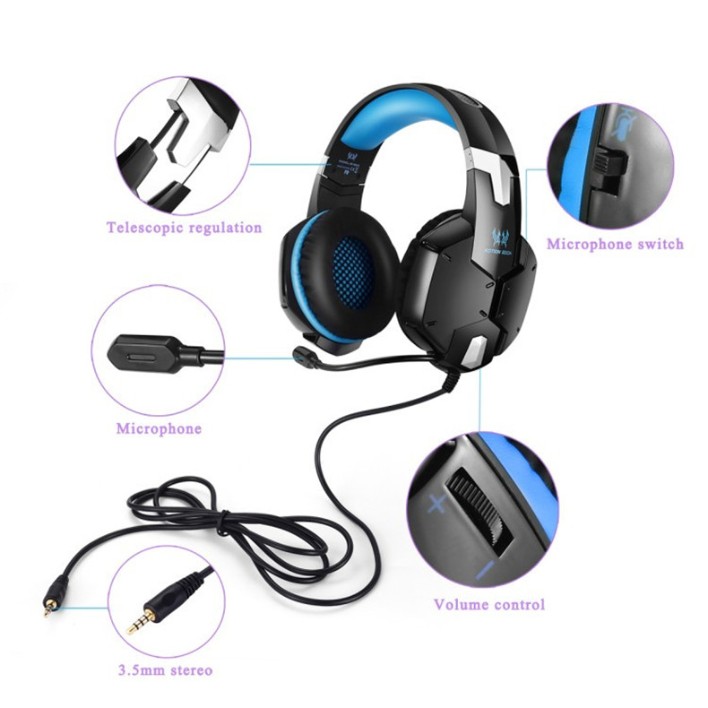 KOTION EACH G1200 Gaming Headphones with Microphone 3.5mm Plug Stereo Headset for PC Laptop Cell Phone Fones De Ouvido (2)