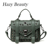 Hazy beauty hot design women stud satchels pu leather lady button handbag super chic and puck stylsih girls greenery bagsDH313