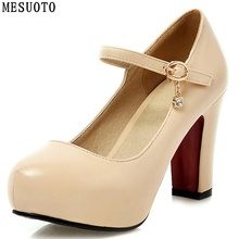 MESUOTO Round Toe Buckle Strap Square High Heel Fashion Womens Shoe Pump Faux Leather Air Dress Shoes Woman