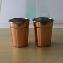 beer tumbler, wine tea cup portable stainless steel shot  with leather case,copper pint cup