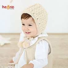 Handmade Crochet Knit Baby Girl Hat Winter Earflaps Baby Hat Solid Color Infant Bonnet Beanie Cap Gift SW157(China)