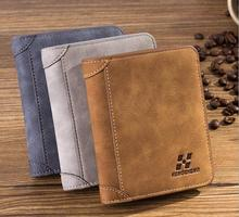 Vintage Men's Faxu Suede Wallets Top Quality Wallet Card Holder Multi Pockets Credit Cards Purse Male Simple Design Brand Purse