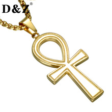 D&Z Gold Color Egyptian Ankh Cross Pendant & Necklace Stainless Steel Symbol of Life Crucifix Necklaces for Religion Jewelry(China)