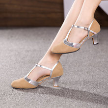 New Women Ladies Ballroom Party Modern Dance Shoes Closed Toe Indoor Suede Sole Tango Salsa Dancing Heels 3.5/5.5/7cm(China)