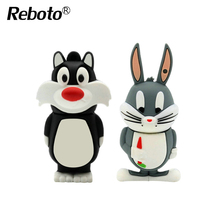 Reboto Daffy Duck 8GB 16GB 32GB 64GB Bugs Bunny Lion cat USB Flash Drive Pendrive animal 4GB U Disk Pendrive Memory Stick(China)