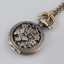 Vintage Fashion Butterfly Flower Hollow Out Cover Quartz Pocket Watch Sweater Chain Necklace Top relogio de bolso