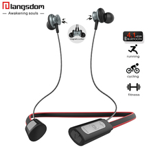 Langsdom IPX4-rated Sports Bluetooth Earphone for phone Wireless Bluetooth Headset with Mic Noise Cancellation Wireless Earbuds