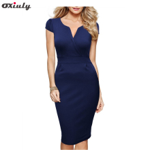 Oxiuly Women Breif Solid Puff Short Sleeve Cotton Blend Stretch Sheath Dress Elegant V-Neck Bodycon Knee-Length Dress Work Dress(China)