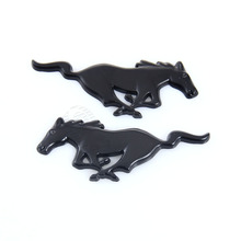 Pair Car Styling Black Alloy Mustang Horse Emblem Badge Auto Truck Body Front Rear Decal Sticker For Ford Mustang #5801
