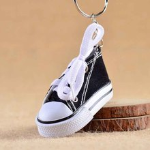Mini Hi Top Canvas Sneaker Tennis Shoe Keychain Blue Pink Black White Sports Shoes Keyring Doll Funny Gifts(China)
