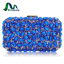 Milisente Women Evening Bag Gold Clutches Bags Blue Party Silver Wedding Party Purple Clutch Purses(China)