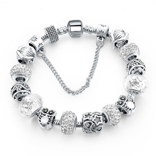 Silver Plated Handmade Charm Bracelets For Women Owl Star Charm Bracelets & Bangles Girl Pulseras SBR160084(China)