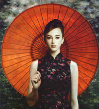 Red Umbrella Belle Art Photo Chinese Famous Painter Works Unframed Spray Figure Painting Home Room Sofa Wall Decor Hang Picture