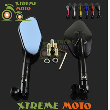 Black Motorcycle Rear View Mirrors Universal Handlebar Side Rearview Mirror 8mm 10mm for Honda Suzuki Yamaha Kawasaki Scooter(China)