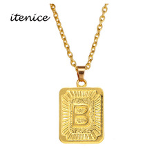 Buy Itenice Ethiopian Girls Fashion Jewelry Gold Stainess Chain Alphabet Square Hyperbole Pendant Necklace Women for $1.28 in AliExpress store