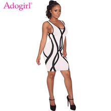 Adogirl Sexy See Through Crisscross Hollow Out Bandage Dress High Neck Long Sleeve Sheer Mesh Bodycon Club Mini Dresses Vestidos(China)