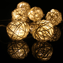 1pcs Big Sale Handmade Rattan Ball LED String Light Battery Box Christmas Wedding Party Decoration String Lights