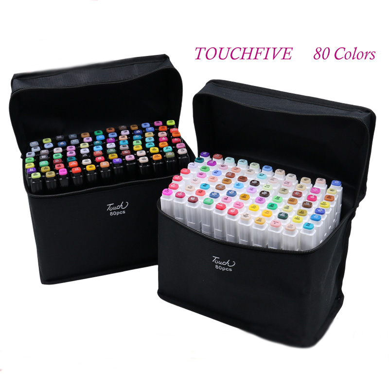 TouchFIVE  80/60 pics/lot brand art marker pen oily alcohol Double Headed Professional copic sketch markers For Manga School pen<br><br>Aliexpress