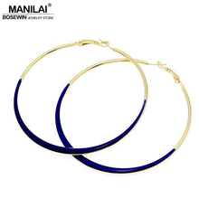 MANILAI Fashion Jewelry 75mm Diameter oil-spot glaze Big Hoop Earrings 4 Neon Colors Indian Costume Jewellery pendientes de aro