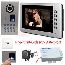 Video Phone Intercom 7 inch TFT LCD Monitor Video Door Phone Fingerprint/code unlock CCD Camera 700TVL Sony IP65 Waterproof Kit