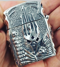 CQD 5.5*4.5*2cm S925 sterling silver hand carved relief Shaped Skull hand Punk The Lich King lighters(China)