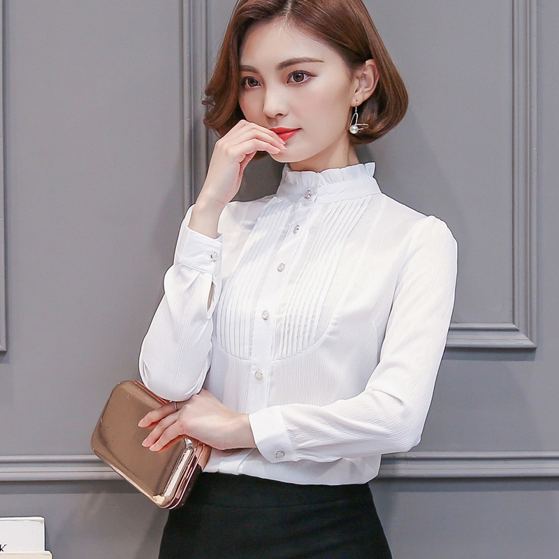 2017 Spring New Women Clothing Long-sleeved Chiffon Blouse Women Slim Body Shirt Blouse 66i 30